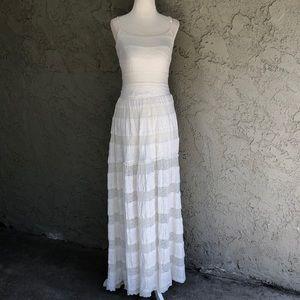 Bebe Stretchy White Lace Bohemian Maxi Dress